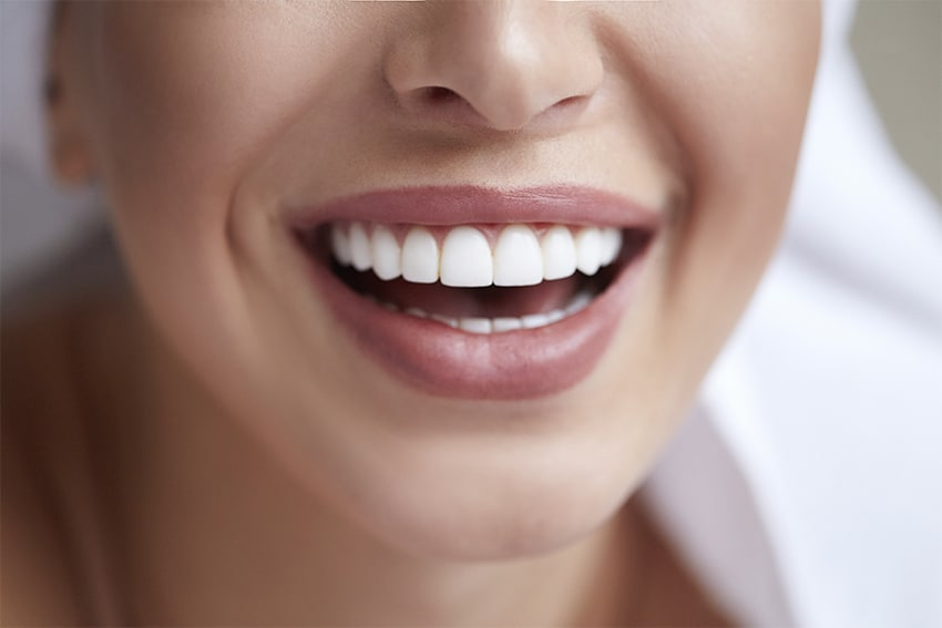 closeup of a young woman's smile